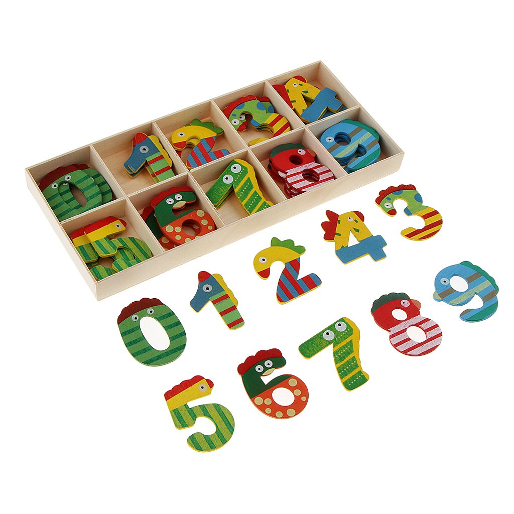MagiDeal 40 Pcs/Set Children Wooden Number Craft for Kids Mix Color Cute Animal Wood Numbers Math Game Educational Plate Toy Intellectual Learning Teaching AIDS with Storage Tray non-brand