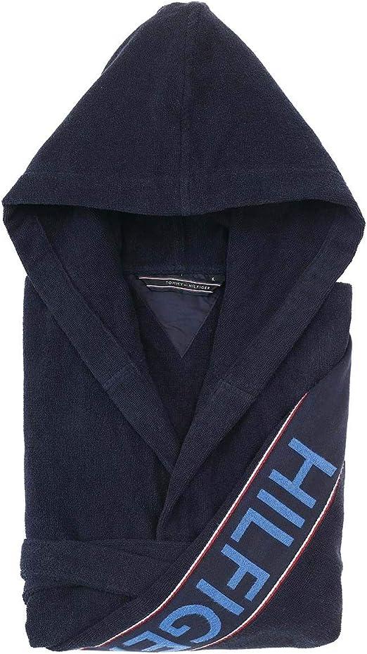Albornoz Kimono con capucha Tommy Hilfiger TG S M L XL XXL 100% rizo puro algodón hombre mujer L azul navy: Amazon.es: Ropa y accesorios