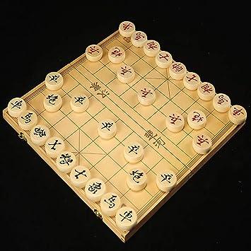 FunnyGoo Caja de Madera Beechwood Xiangqi Juego de ajedrez Chino con Caja Plegable Tablero de ajedrez 象棋, Caja de 27x15x4cm con ajedrez de 2.8cm de diámetro: Amazon.es: Juguetes y juegos