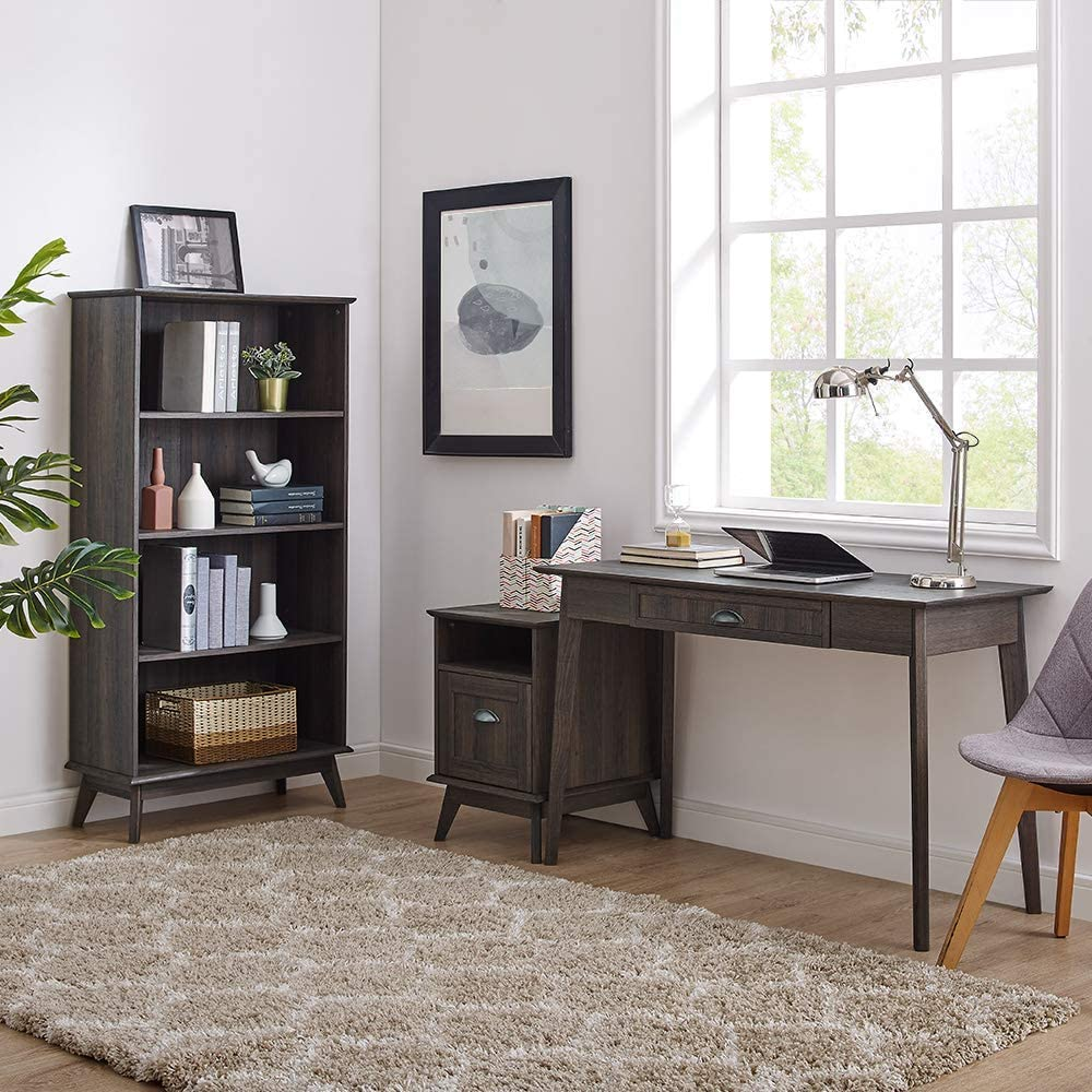 Newport Series Tall Wooden Home Office File Cabinet with Fully Extended Drawer   Side End Table   Sturdy and Stylish   Easy Assembly   Smoke Oak Wood Look Accent Living Room Furniture