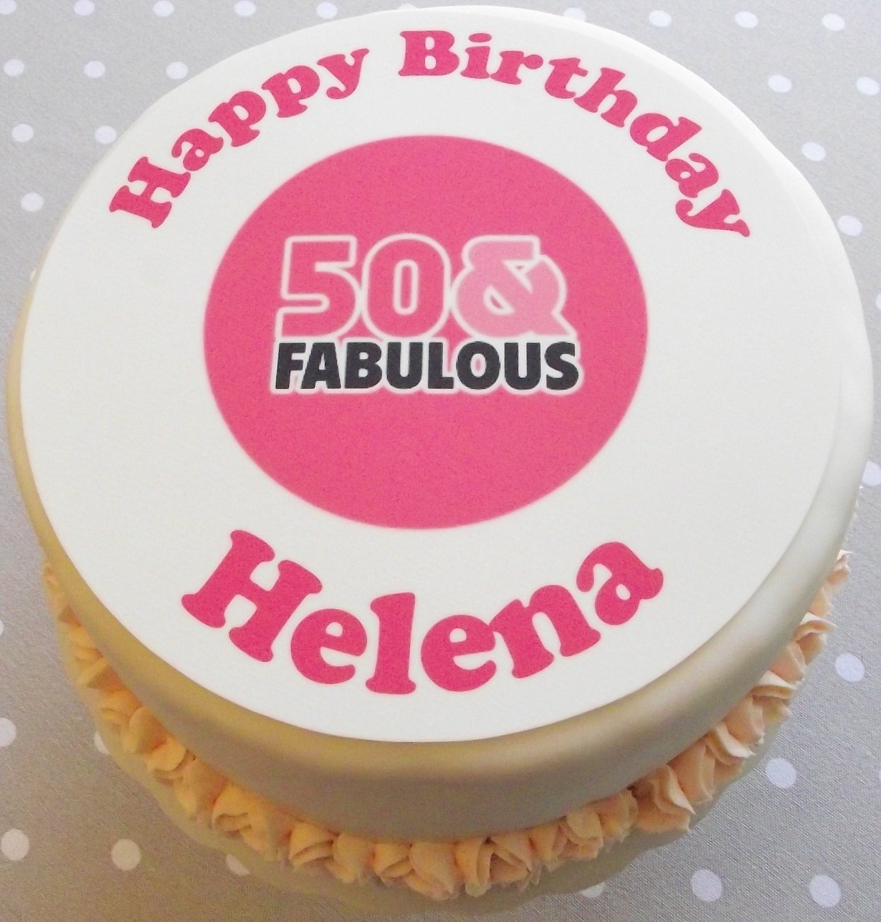 Happy 50th Birthday Personalised Cake Topper Icing or Wafer Icing