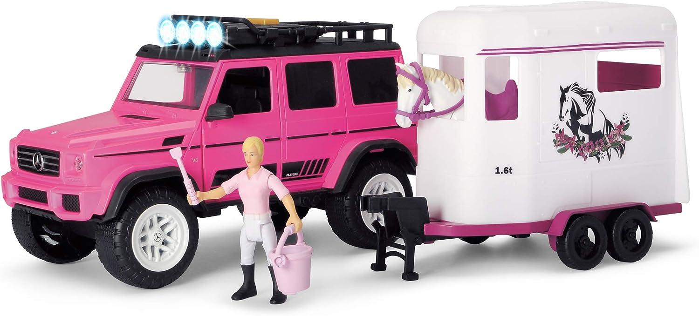 Dickie Toys Playlife 203838007 - Juego de 18 Piezas para Remolque de Caballo, luz y Sonido, Incluye Pilas, 40 cm, Color Rosa, a Partir de 3 años