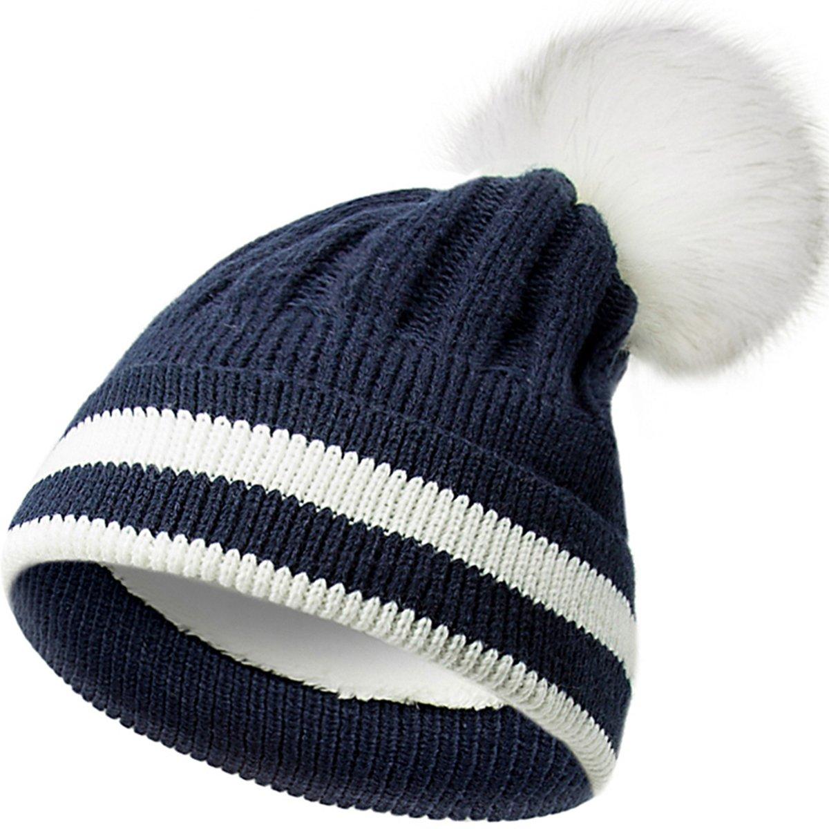 EVRFELAN Pom Pom Cotton Beanie Winter Hat Knitted Thick Warm Cute Caps Women Girls (Navy blue)