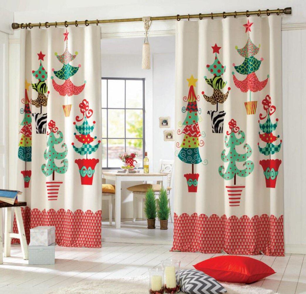 Brinny 2 Stück 1.3m*2.4m Weihnachten Vorhänge Gardine Weihnachtsbaum ...