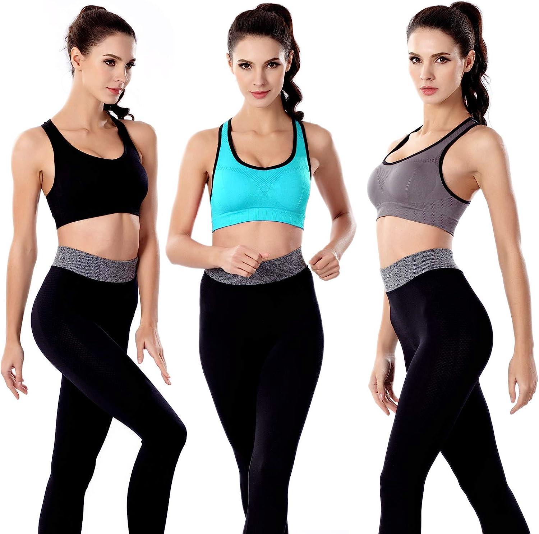 3 Pack Women Racerback Sports Bras High Impact Workout Yoga Gym Fitness Bra