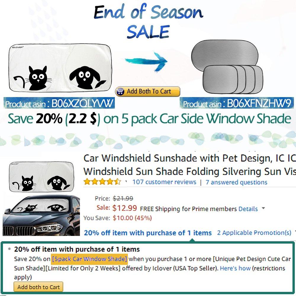 Amazon.com: Car Windshield Sunshade with Pet Design, IC ICLOVER Cute Cartoon Design Front Auto Car Windshield Sun Shade Folding Silvering Sun Visor - UV ...