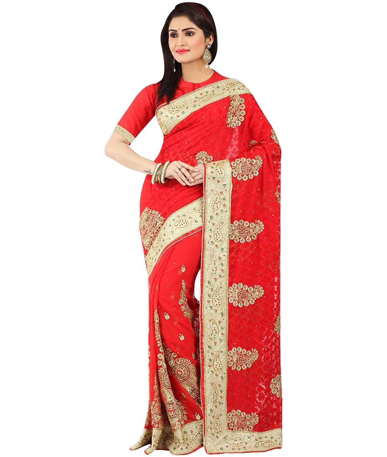 Indian Ethnic Faux Georgette Brasso Red Designer Saree