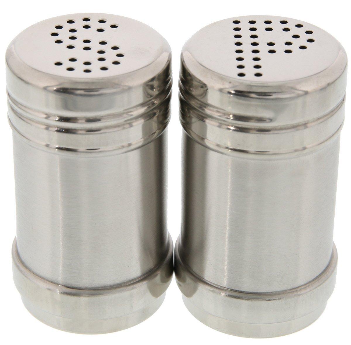 Juvale Salt Pepper Shakers - Modern Kitchen Stainless Steel Salt Pepper Shakers - 3.5 inch COMINHKPR82642
