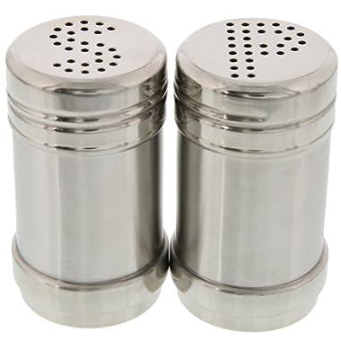 Juvale Salt Pepper Shakers - Modern Kitchen Stainless Steel Salt Pepper Shakers - 3.5 inch