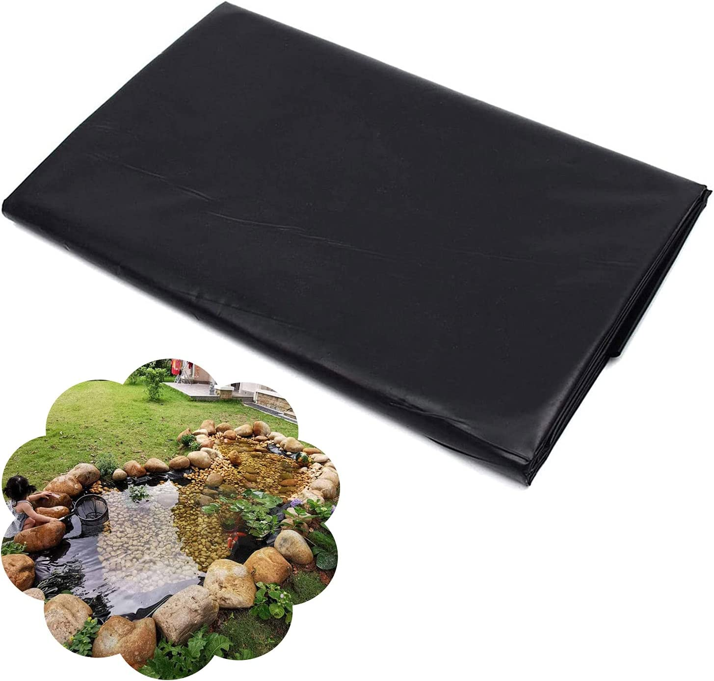 YANYAN Small Pond Liner 4x4ft Pond Underlayment HDPE Pond Liner 7.9mil Thick Pond Skins Pond Liner Rubber Pond Liner for Fish Ponds,Water Features,Fountains,Waterfall and Water Gardens