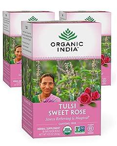 Organic India Tulsi Sweet Rose Herbal Tea - Stress Relieving & Magical, Immune Support, Adaptogen, Vegan, Gluten-Free, USDA Certified Organic, Non-GMO, Caffeine-Free - 18 Infusion Bags, 3 Pack