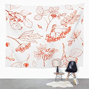 Xrknvf Apple Tapestry Twigs Trees Berries Leaves Red Pencil White Apple Vintage Art Environmentally Friendly Suitable for Bedroom Living Room Decoration 60x80 Inches