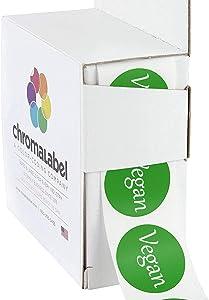 ChromaLabel 1 Inch Round Permanent Food Labels, 500 Stickers per Dispenser Box, Green, Vegan