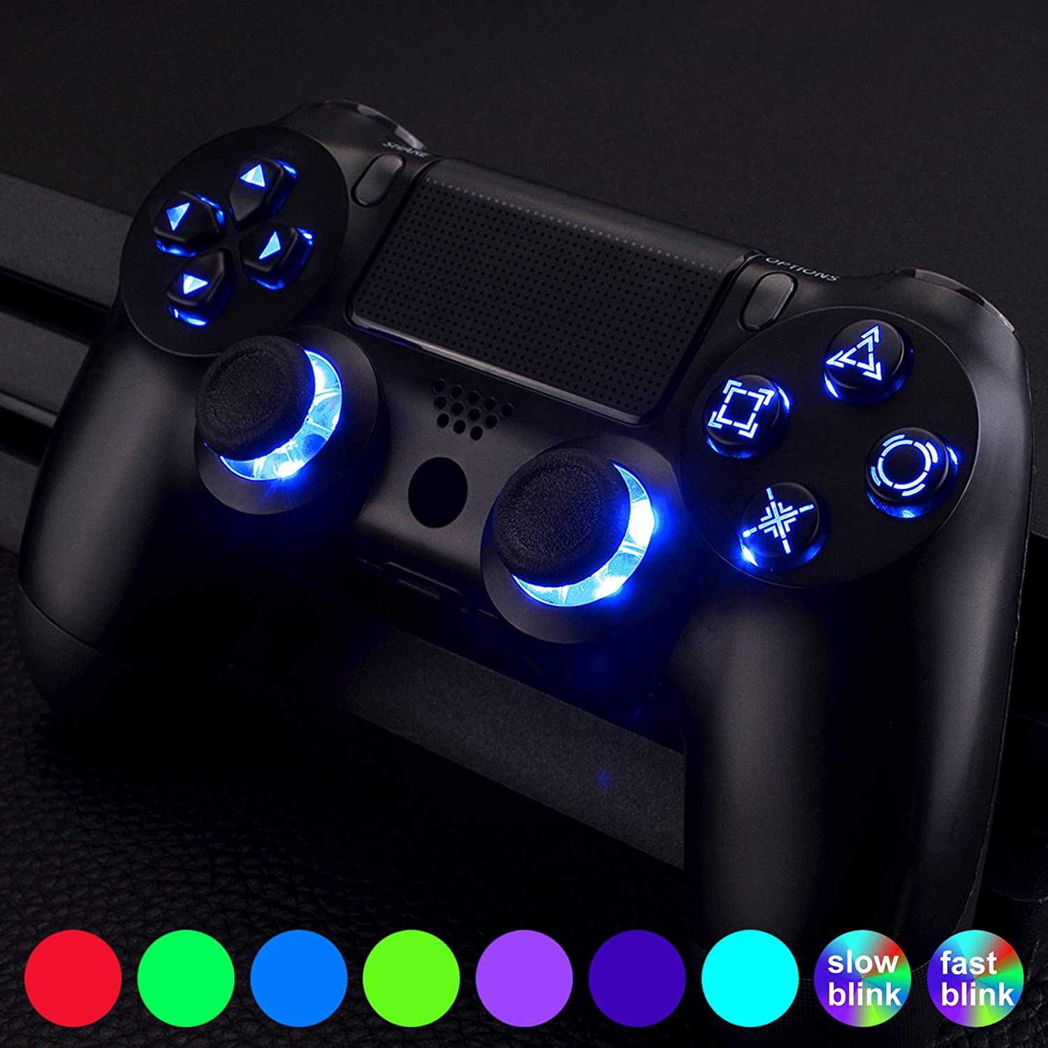 eXtremeRate Multi-Colors Luminated D-pad Thumbsticks Face Buttons (DTF) LED DIY Kit with Classical Symbols Buttons Set for PS4 Controller Universal - 7 Colors 9 Modes Touch Control