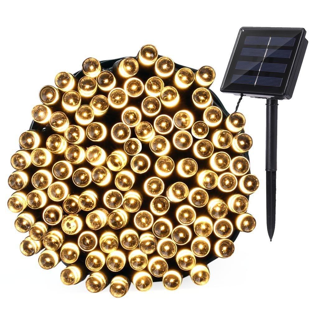 Qedertek Luci Natalizie da Esterno Luci Solare 22M 200 LED Addobbi Natalizi Catene Luminose Luci Decorazione di Natale per Albero di Natale Illuminazione Solare per Giardino