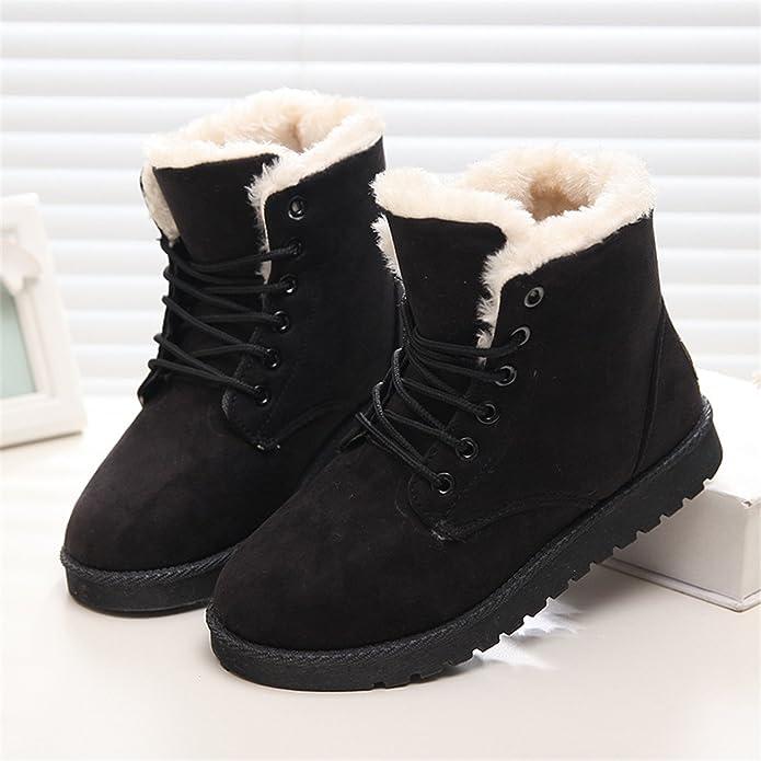 Amazon.com | Ankle Boots for Women Female Fur Lace Up Fenty Platform Snow Boots Suede Plush Sewing Botas Black 4 | Boots