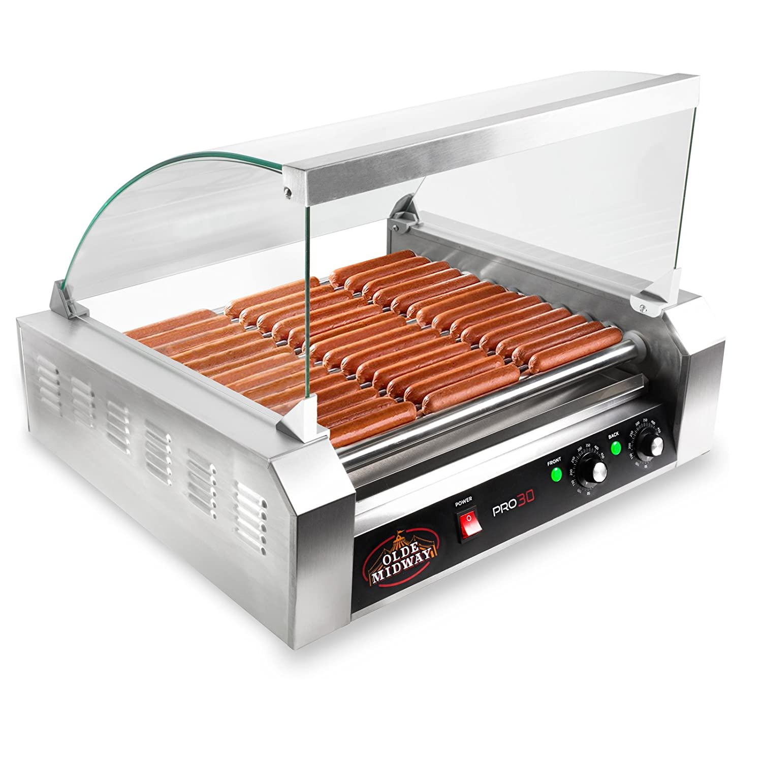 Uncategorized Hot Dog Cookers Specialty Kitchen Appliances olde midway electric 30 hot dog 11 roller grill cooker machine image is loading roller
