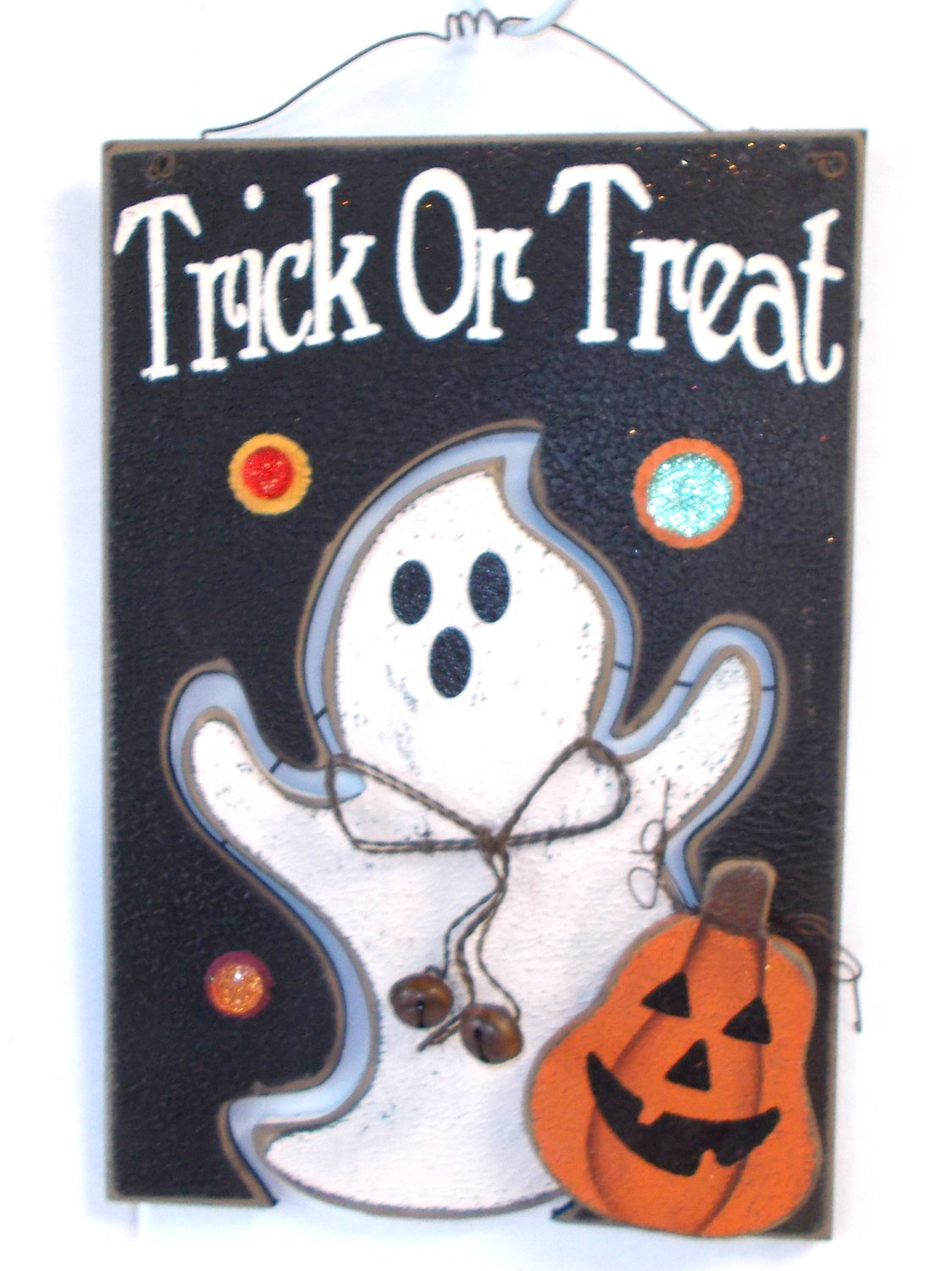 New Trick Or Treat Ghost Jack O Lantern Jeweled Sign Wall Decor u NWT Trick or Treat Sign with Ghost and Jack O Lantern with Red Green and Gold Jewels