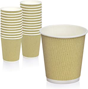 [50 Pack] Disposable Hot Cups - 10oz Brown Double Wall Insulated Ripple Sleeves To Go Coffee Cups - Kraft Hot Beverage Cups for Chocolate, Tea, and Cocoa Drinks - Sturdy, Food Safe, and Eco Friendly