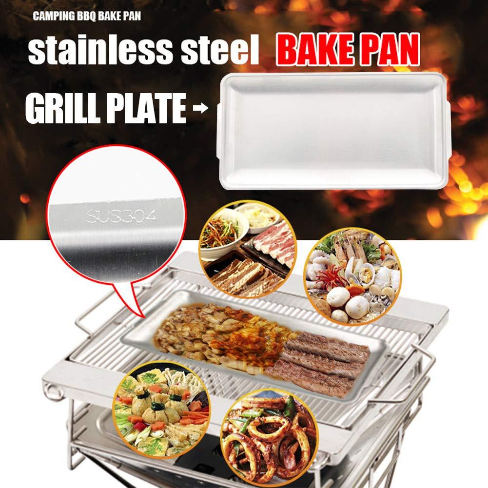 32 x 16.5 x 1.5 cm per Barbecue e Barbecue Come da Immagine Almabner Piastra per griglia in Acciaio Inox per Interni ed Esterni