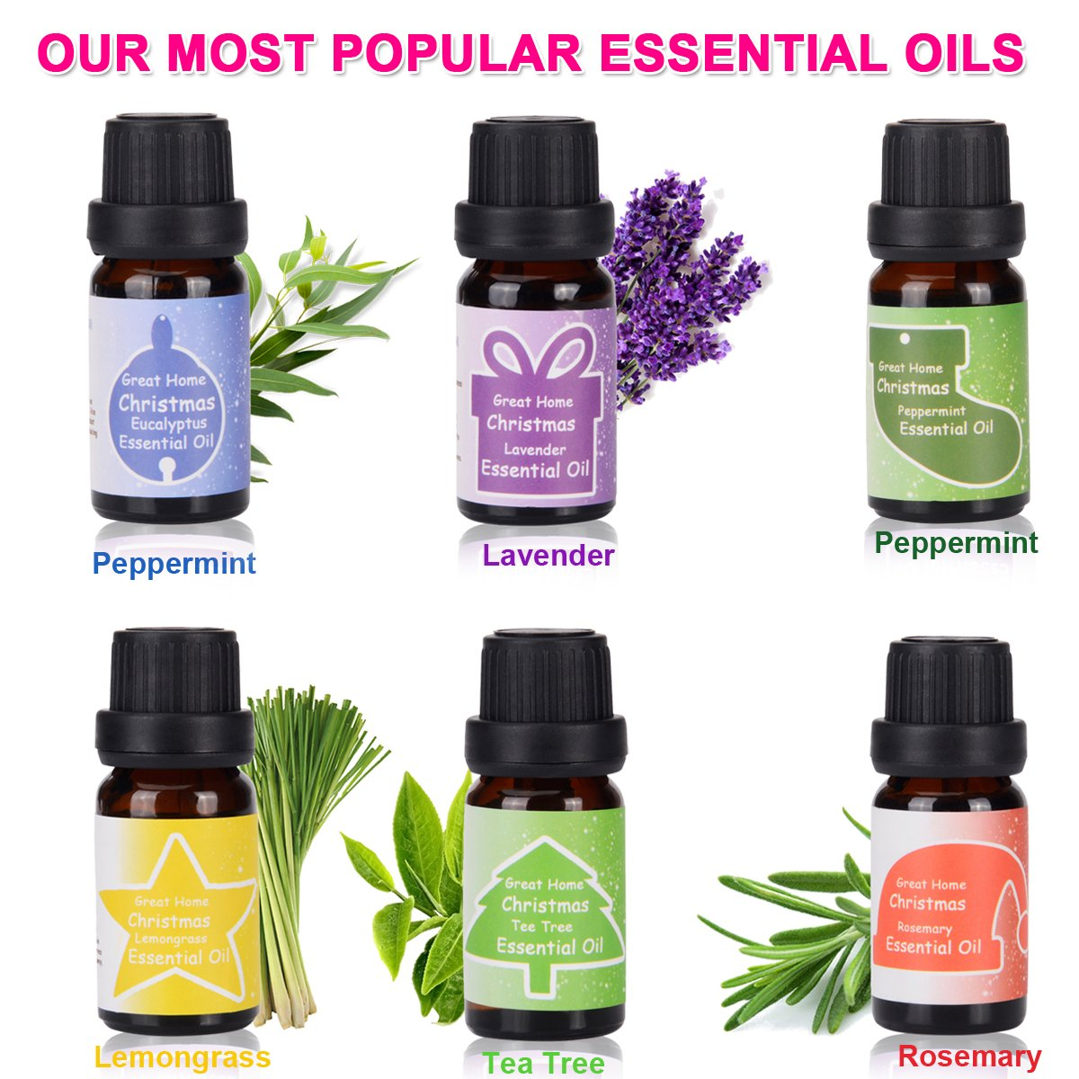 amazoncom aromatherapy essential oils holiday scents set for diffuser majestic pure therapeutic grade basic sampler essential oil starter kit with - Christmas Essential Oils