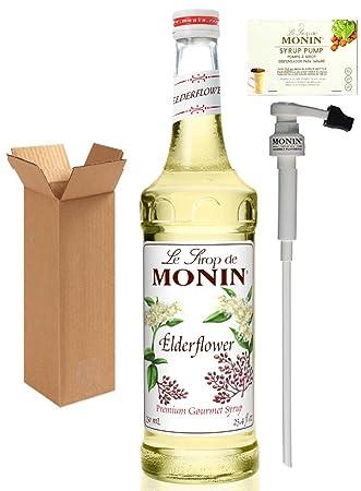 Monin Elderflower Syrup, 25.4-Ounce (750 ml) Glass Bottle with Monin BPA