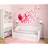 Decals Design 'Love You Hearts Blowing' Wall Sticker (PVC Vinyl, 70 cm x 50 cm)