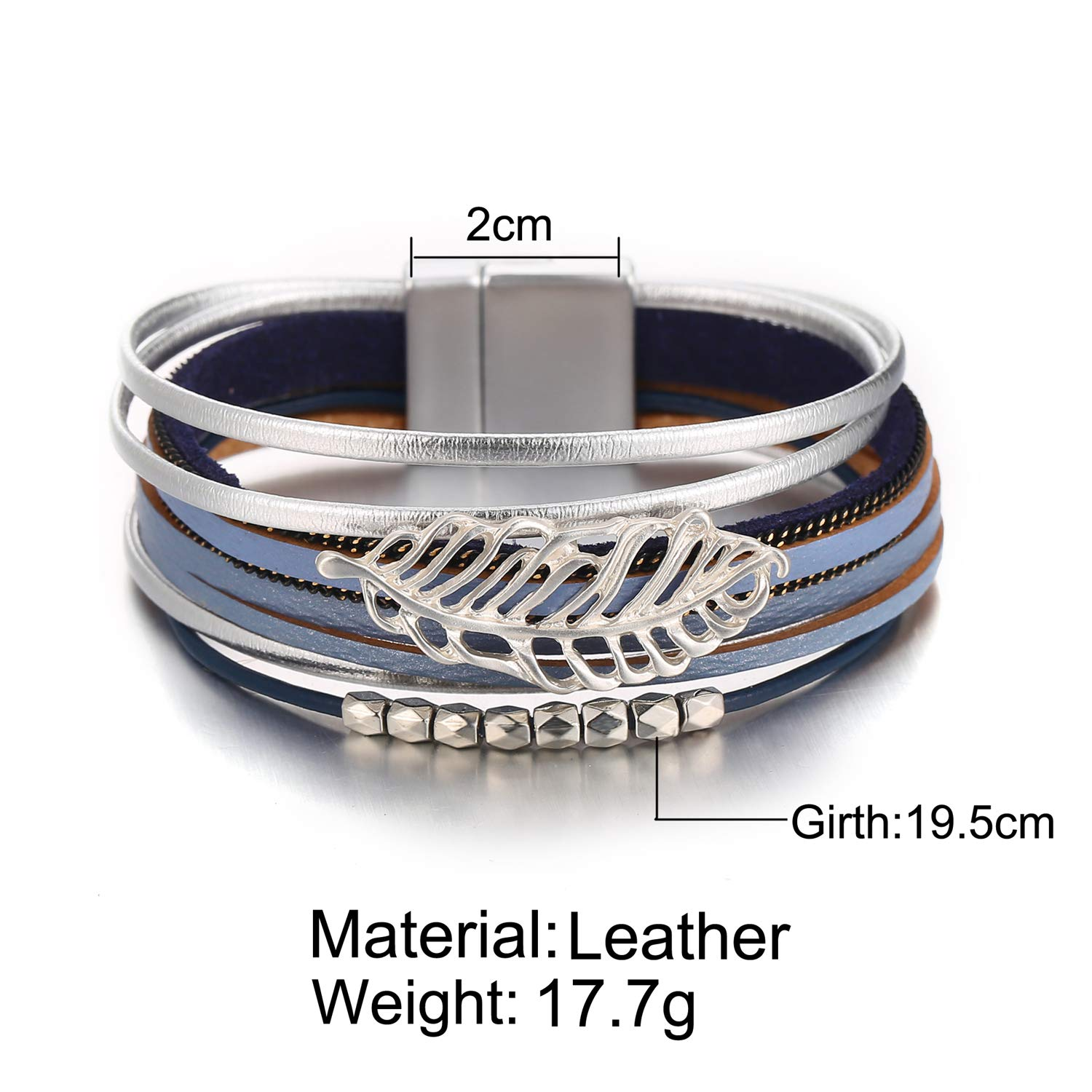 FAXHION Multi-Layer Wrap Leather Bracelet Magnet Buckle Handmade Boho Cuff Bracelet Jewelry for Women and Girls Gift