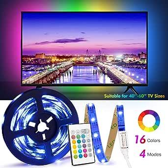 USB Tira Led para TV con una longitud de 2.5 metros. P24 teclas con control remoto por infrarrojos para controlar la tira LED. Luz RGB 5050 con 16 colores.: Amazon.es: Iluminación