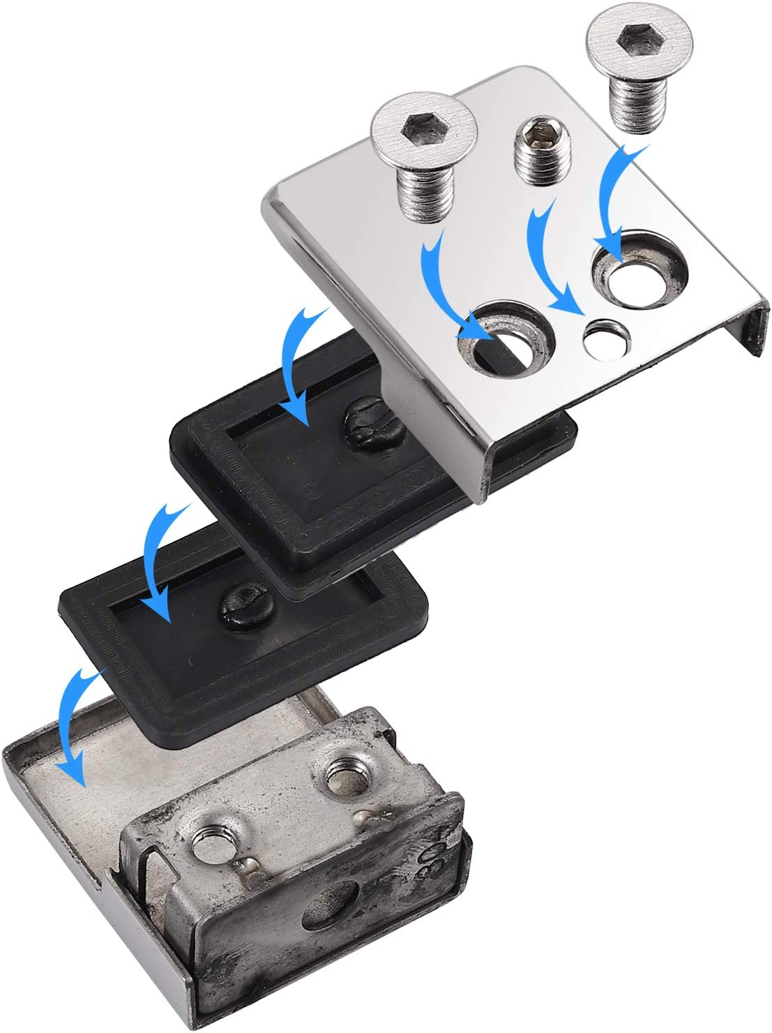 Proster HM652SAN 8 10 mm Lot de 8 colliers de serrage en acier inoxydable 304 r/églables en verre Dos plat pour rampe descalier Balustrade Argent poli