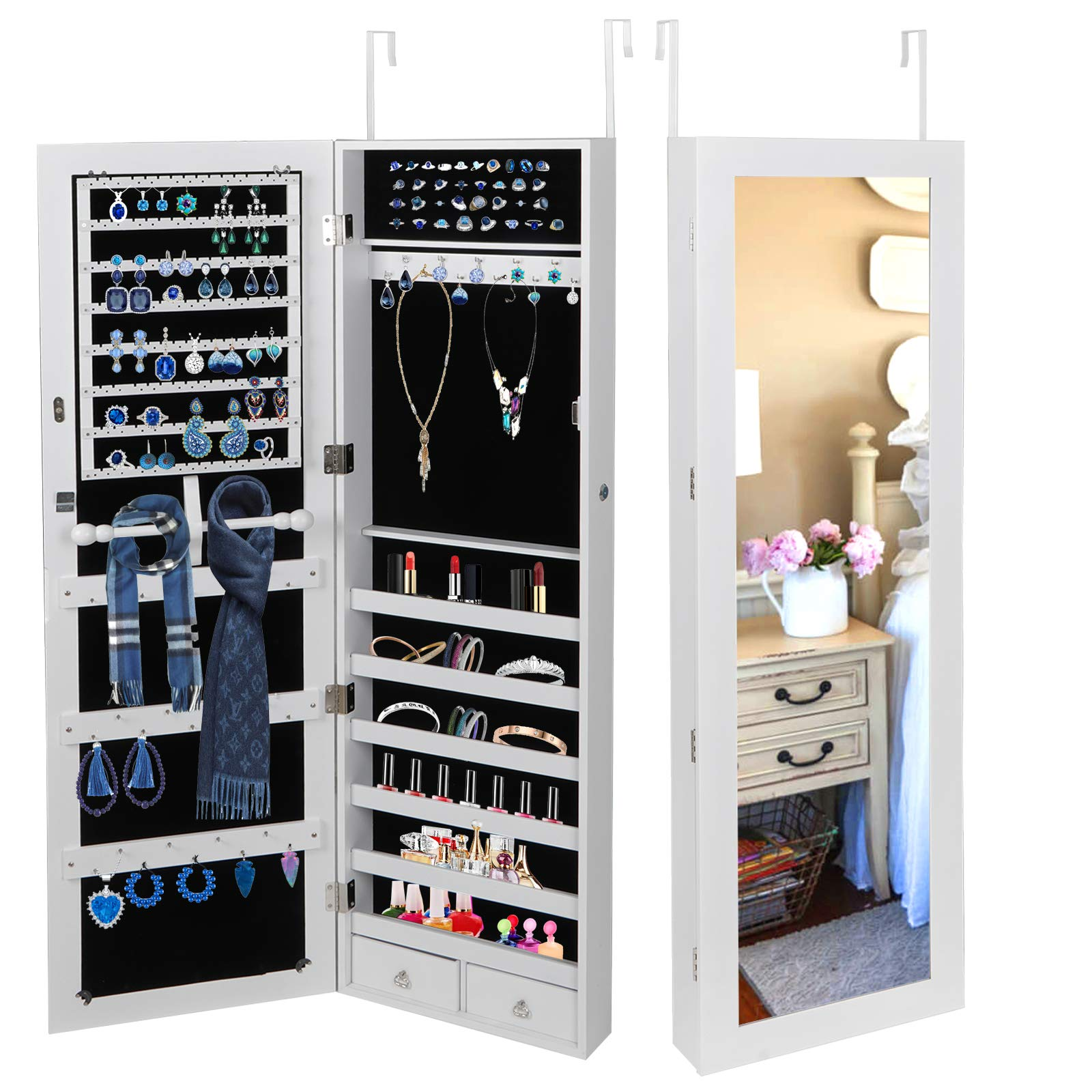 ZENY Lockable Jewelry Carbinet Armoire Mirrored Door Wall Mounted Jewelry Organizer Storage Box Large Capacity w/ 2 Drawers