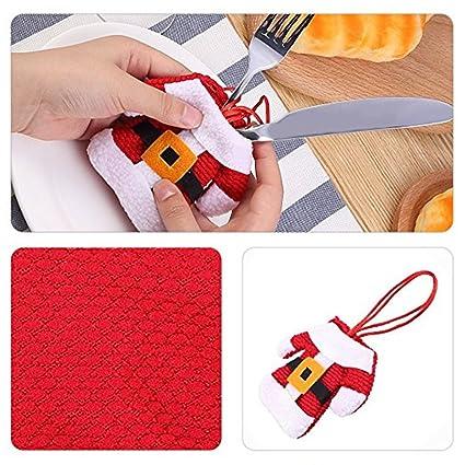 6pcs Cubiertos toalla cuchillos tenedor decoración de mesa navideño bolsa de vajilla disfraz Papá Noel Mignon
