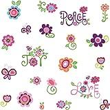 Jomoval RMK1649SCS - Pegatinas adhesivas para pared (4 láminas de 25,5 x 46 cm), diseño de flores