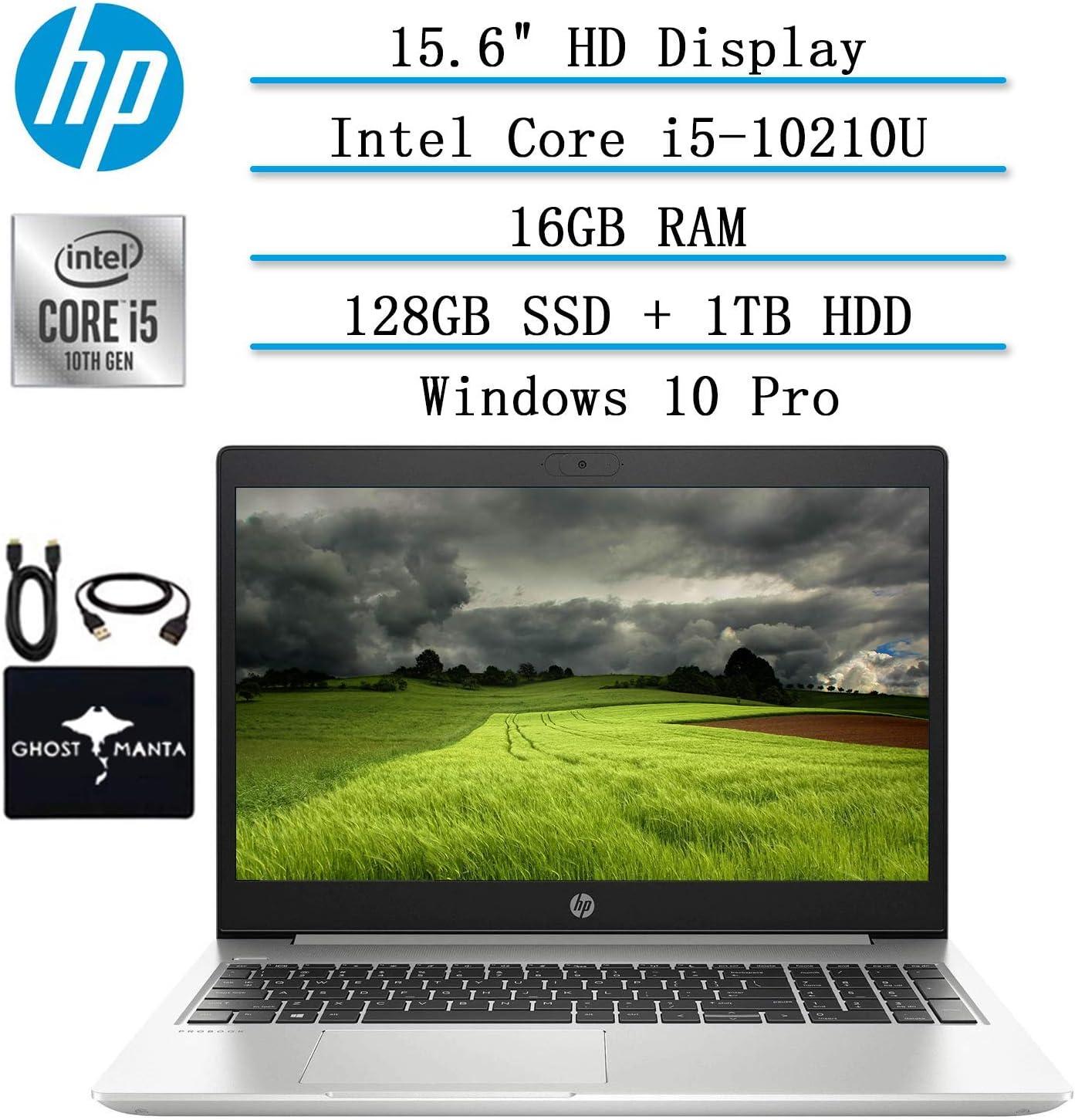 """2020 Newest HP ProBook 15.6"""" HD Laptop for business and student, 10th Gen Intel Quad Core i5-10210U (Beat i7-8665U), 16GB RAM, 128GB SSD + 1TB HDD, Backlit-KB, HDMI, Wifi, Win10 Pro, w/ GM Accessories"""