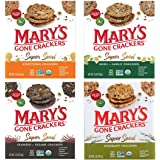 Mary's Gone Crackers Super Seed Variety Pack, 4 Flavors, 5 oz (4 Pack) In Sanisco Packaging.