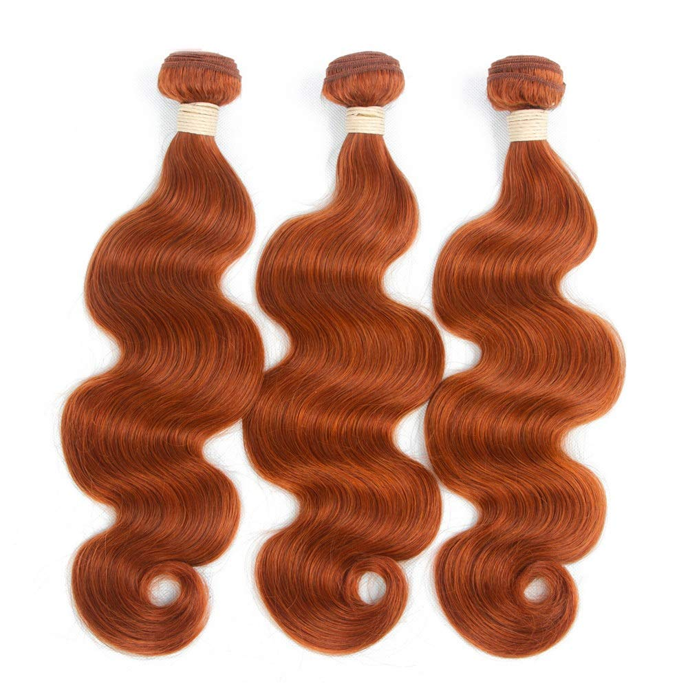 BOBIDYEE 実体波バージンヘア1バンドル100%未処理のRemyヒューマンヘアエクステンション#350茶色がかった黄色の髪の織り方(1バンドル、8
