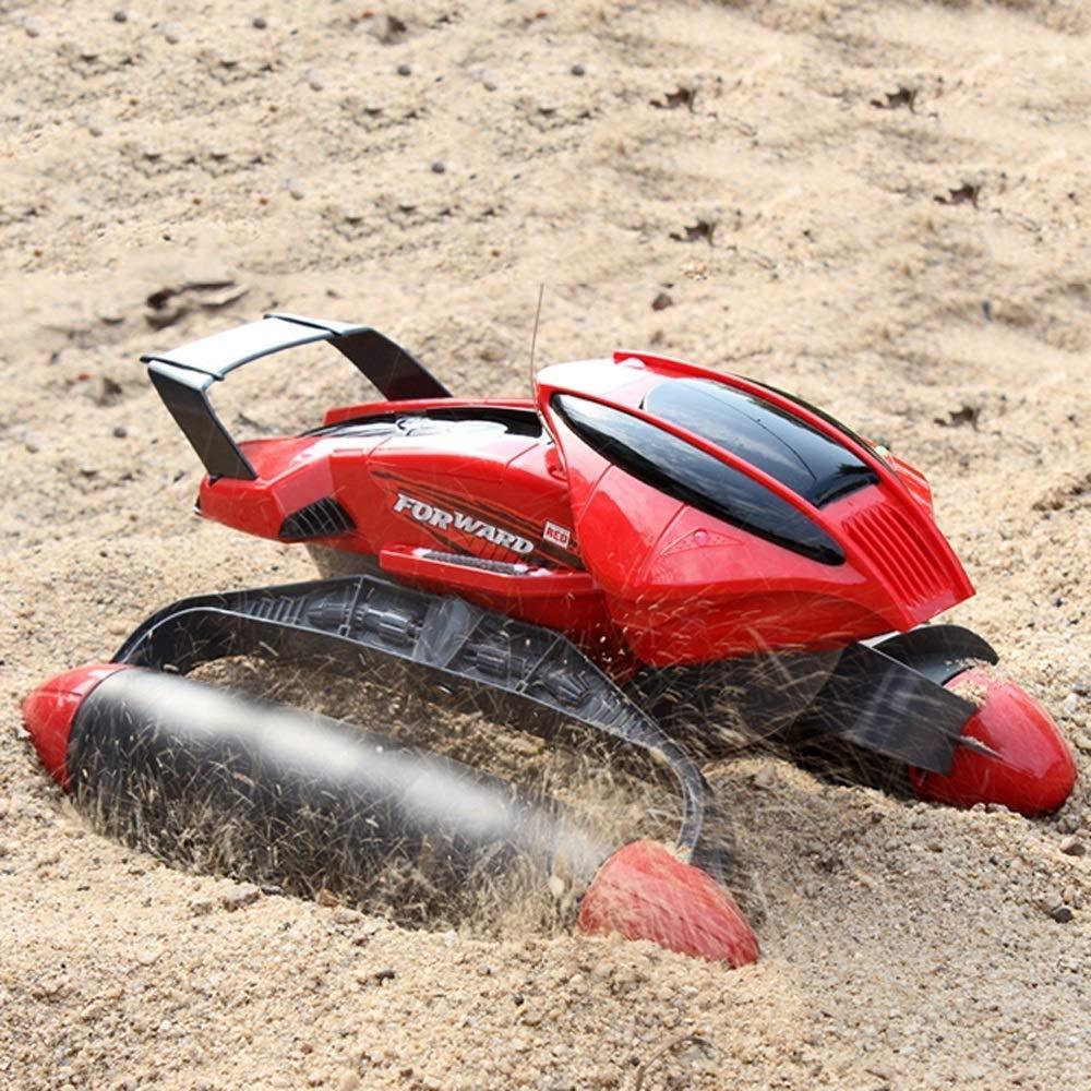 IBalody Wasserdichte RC Auto Design Wasser Und Land Amphibienfernbedienung Geländewagen Drahtlose Aufladung Fernbedienung Modell Geschenke für Kinder 6+ (Farbe   rot, Größe   3-Battery) rot 1-Battery