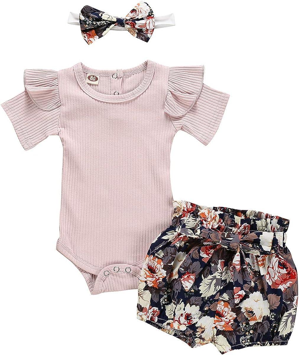 puseky Conjunto de Trajes de Diadema Floral con Volantes y Manga Larga con Volantes para bebés bebés niñas