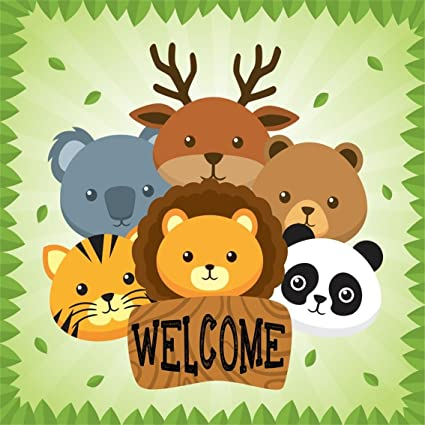 CSFOTO 4x4ft Background For Cute Animals Happy Birthday Party Invitation Photography Backdrop Tiger Panda Bear Zoo Welcome Bash Child Kid