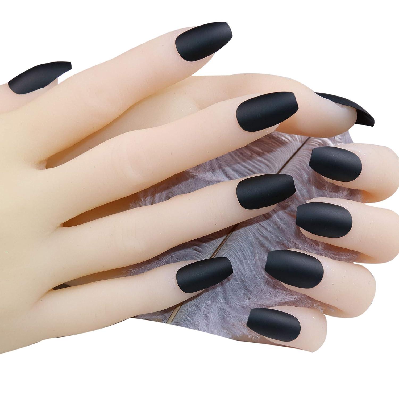 JINDIN Black Matte Fake Nails Coffin Shape Acrylic French False Nail Tips  Full Cover for Women Girls Press On Nails Medium Long Design