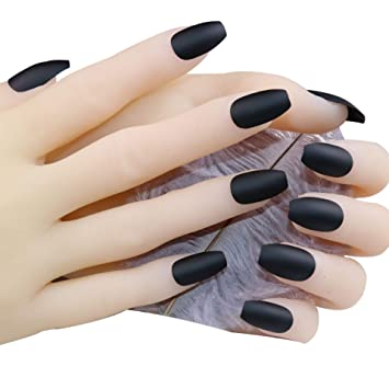 JINDIN Matte Fake Nails Coffin Shape Medium Long Design Acrylic French  False Nail Tips Full Cover for