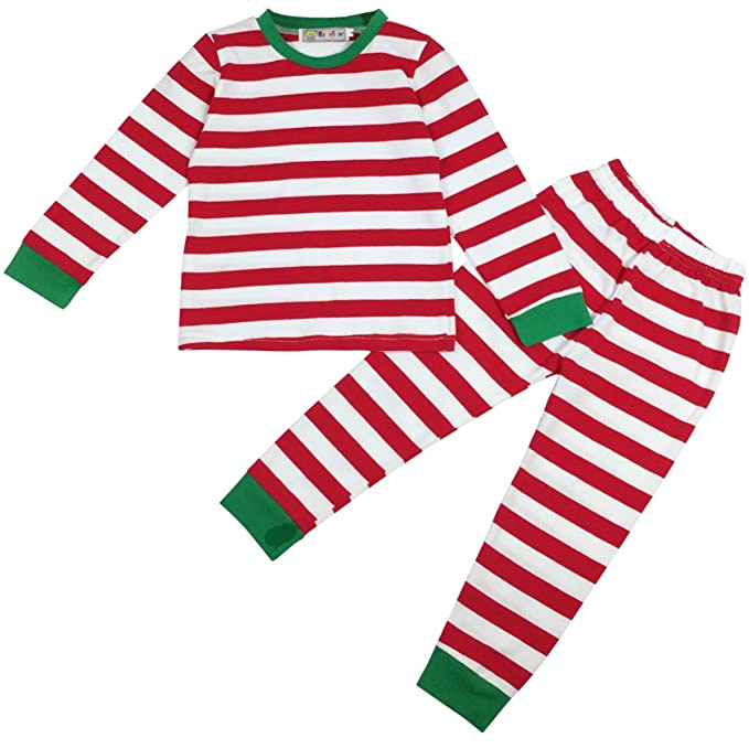 Jastore Baby Boys Girls Striped T-Shirt and Pants Sleepwear Christmas Pajamas Sets (2-3 Years, Red)