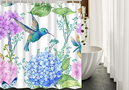 Beau HGOD DESIGNS Hummingbird Shower Curtain For Bathroom,Hummingbird Picking  Nectar For Hydrangea Art Painting Design