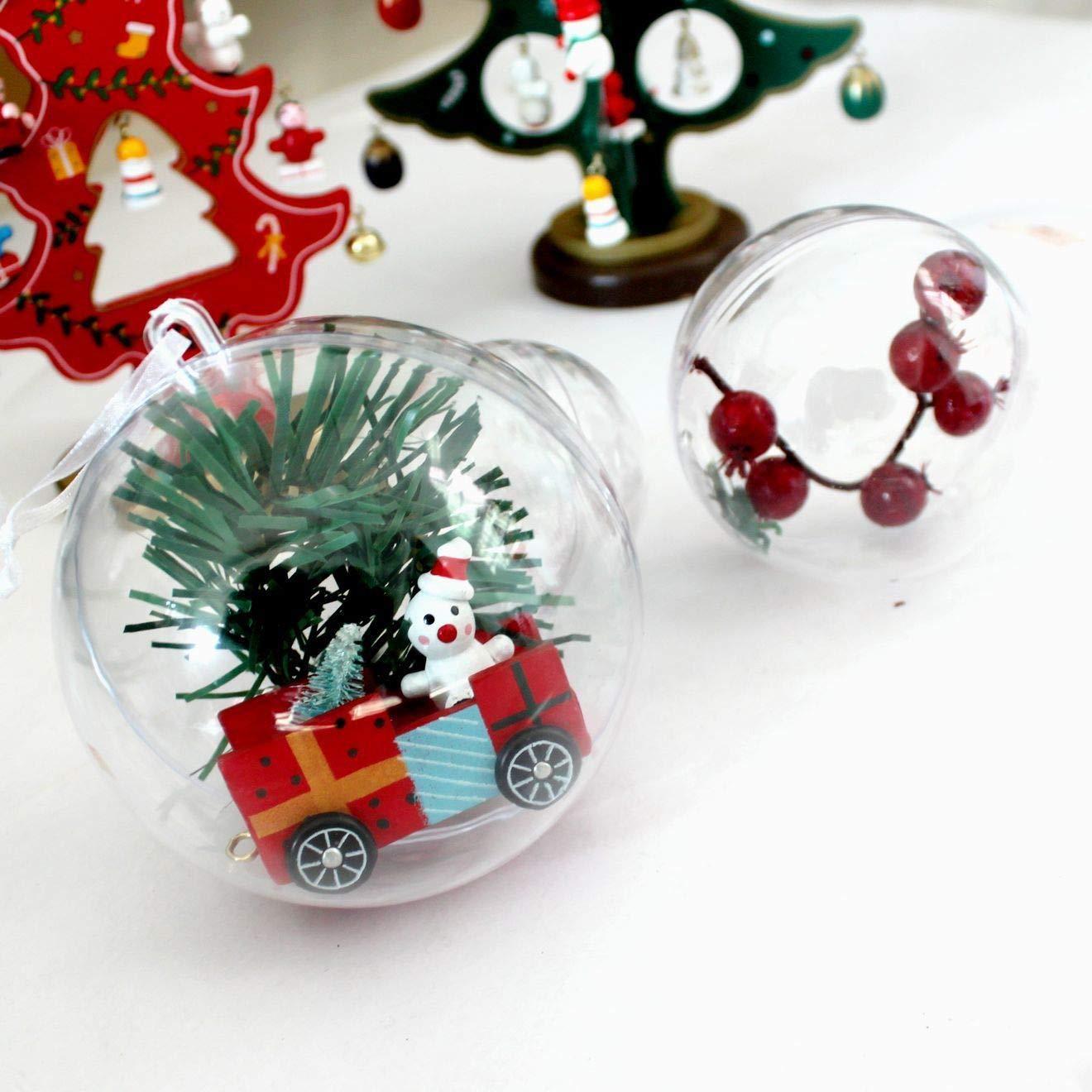 Shirylzee 12 Stück Acrylkugeln 8cm Durchmesser Transparente Kunstoff-Kugeln Acrylic Ball mit Aufhängeöse zum selbst befüllen befüllbare Weihnachtsbaumkugeln Weihnachten Ornament Party Dekoration Möbel & Wohnaccessoires