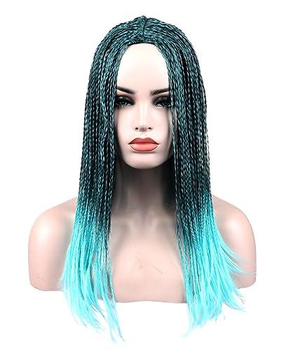 Kalyss Peluca de pelo sintético, cosplay, degradado de negro a azul,