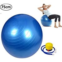 Getko With Device Anti-Burst Fitness Exercise Stability Gym Ball/Yoga Ball/Swiss, Birthing, Gym Ball 75 cm with Foot Pump (Random Color)