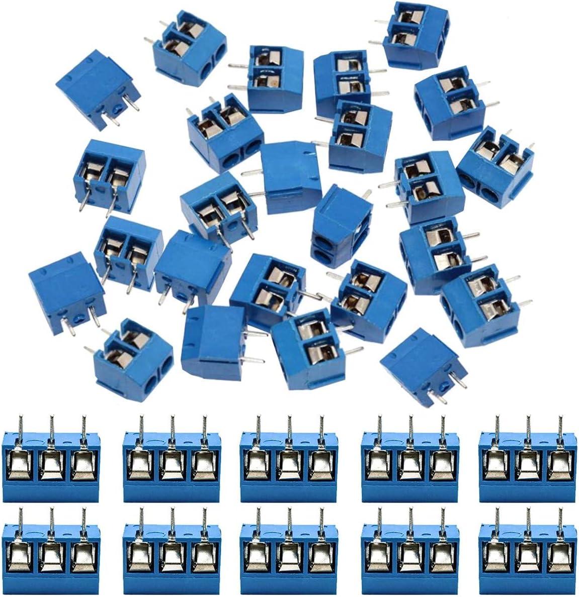 IZOKEE 60 Piezas 5mm 2 Pines/3 Pines PCB Bloque de Terminal de Tornillo de MontajeAzul para Arduino (2PIN-50 Piezas, 3PIN-10 Piezas)