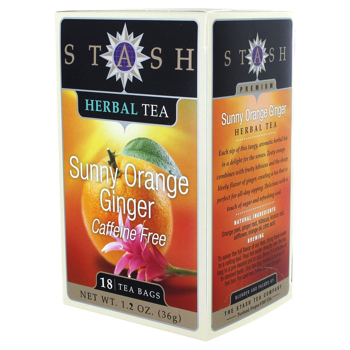 Stash Tea, TEA,HRB,SUNNY ORANGE GNGR, 6 Pack 077652082173