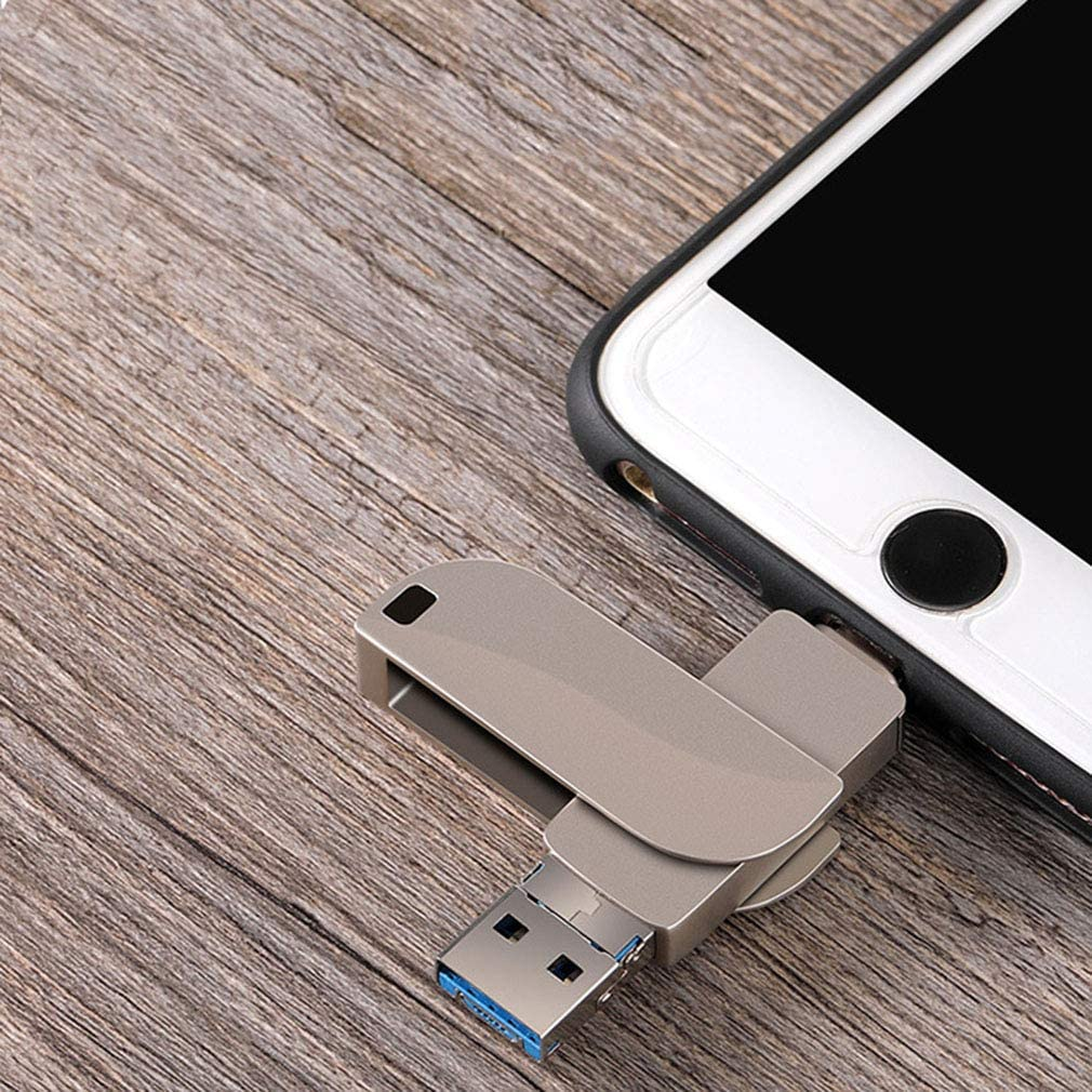 Mobile Computer Rotating Metal USB Flash Drive for Android//iOS//Type-C//Computer LEED USB 3.0 Flash Drive Maximum 256G