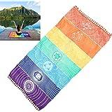 Zycshang Fashion 75 x 150cm verano, arco iris, alfombrilla de playa con mandala, tapiz, manta a rayas, toalla para Yoga.